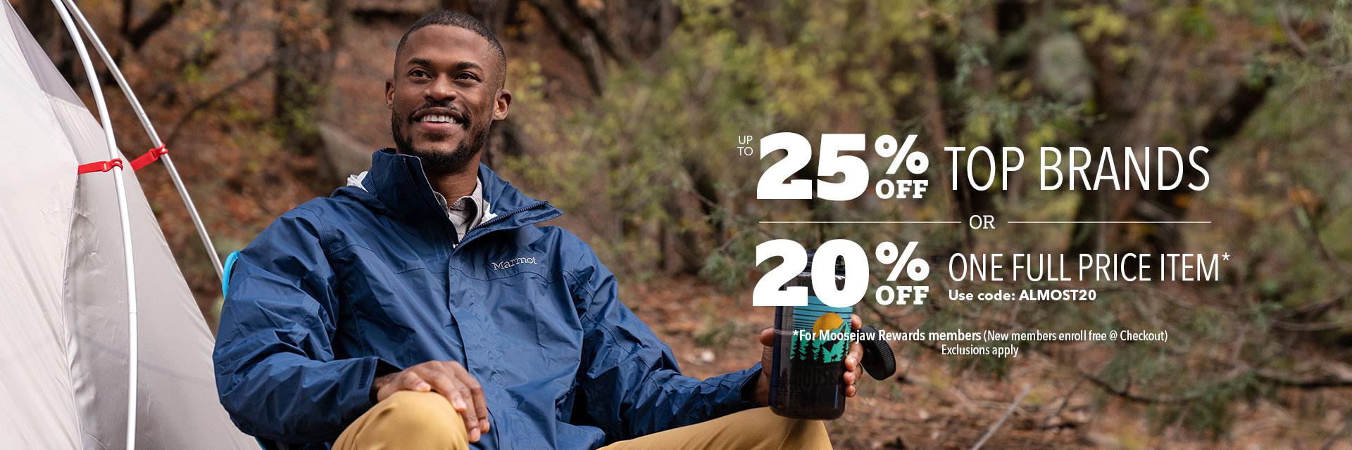Moosejaw全價商品立折20%優惠券,Moosejaw精選戶外裝備和外套8折優惠碼
