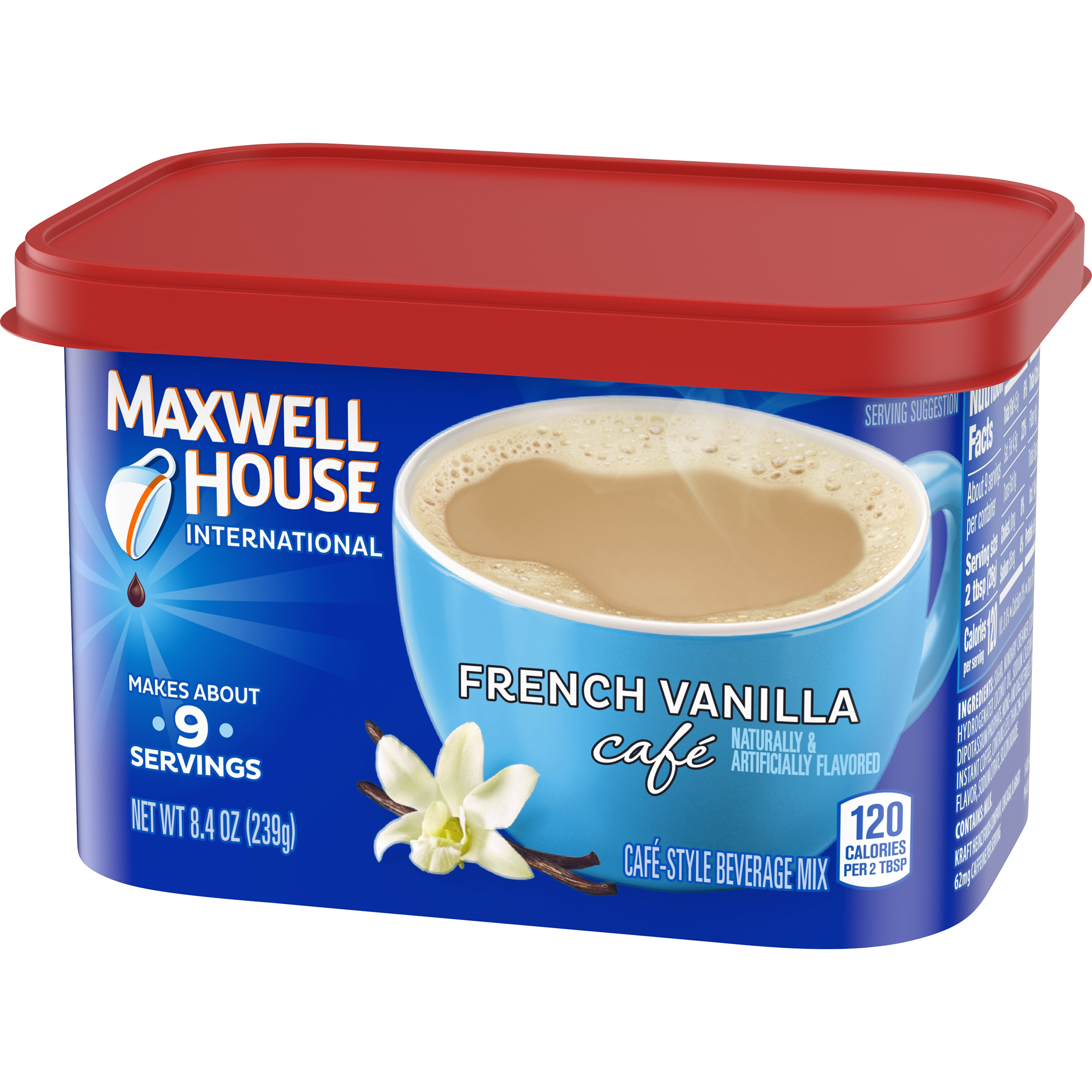Maxwell House International French Vanilla Cafe Instant Coffee 8.4 oz Canister