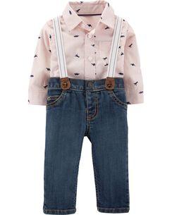 2-Piece Button-Front Bodysuit & Suspender Jean Set