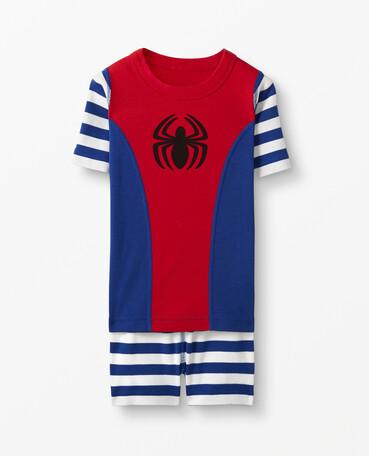 한나 앤더슨 x 마블 스파이더맨 보이즈 파자마 Hanna Andersson Marvel Spider-Man Short John Pajamas ,Deep Blue Sea/Hanna Red
